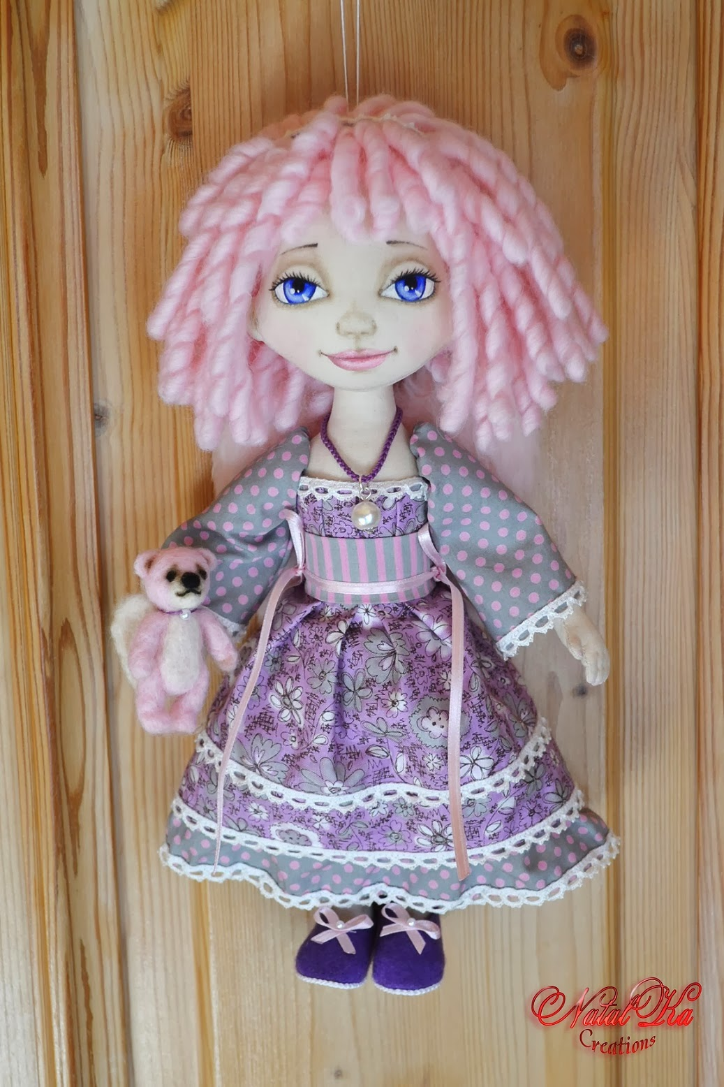 Cloth art doll angel handmade by NatalKa Creations. Авторская текстильная кукла
