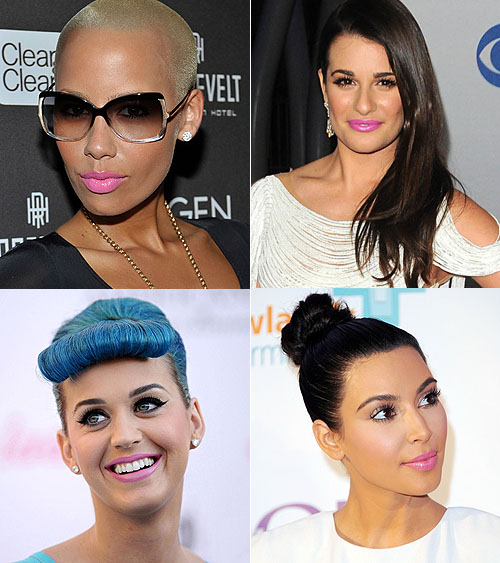 amber rose lea michele katy perry kim kardashian cool pink lipstick