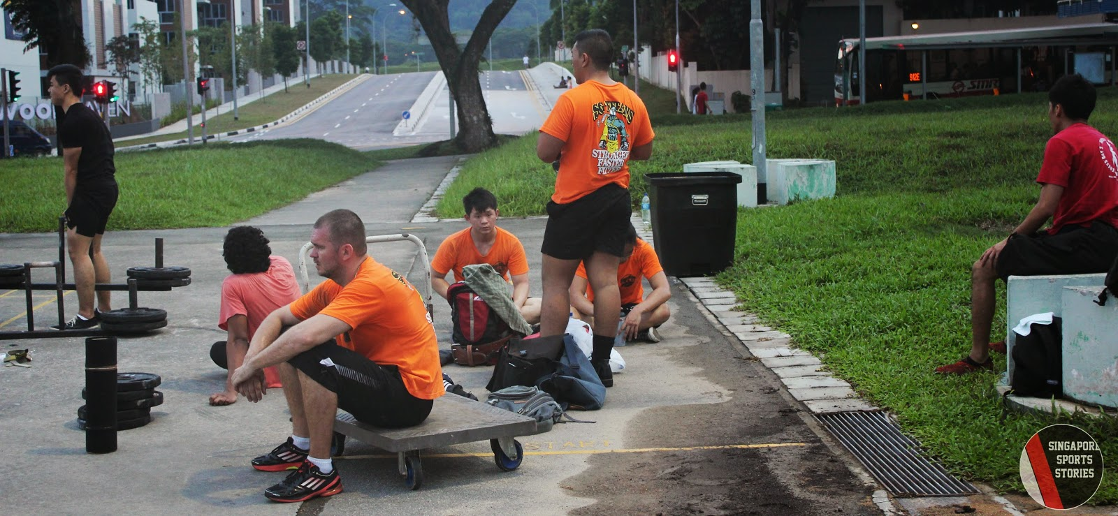 Members of Singapore Strongman group, SG Titans, taking a break