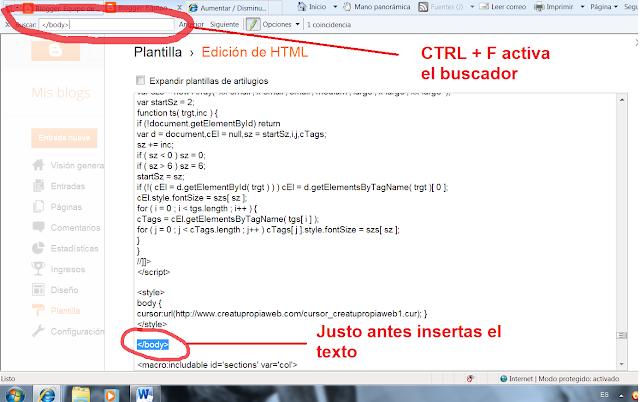 La imagen ofrece el texto a buscar escribiéndolo con el buscador que se activa con CTRL + F