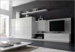 Fotografias de muebles de salon modernos - Muebles lacados en blanco brillo ...