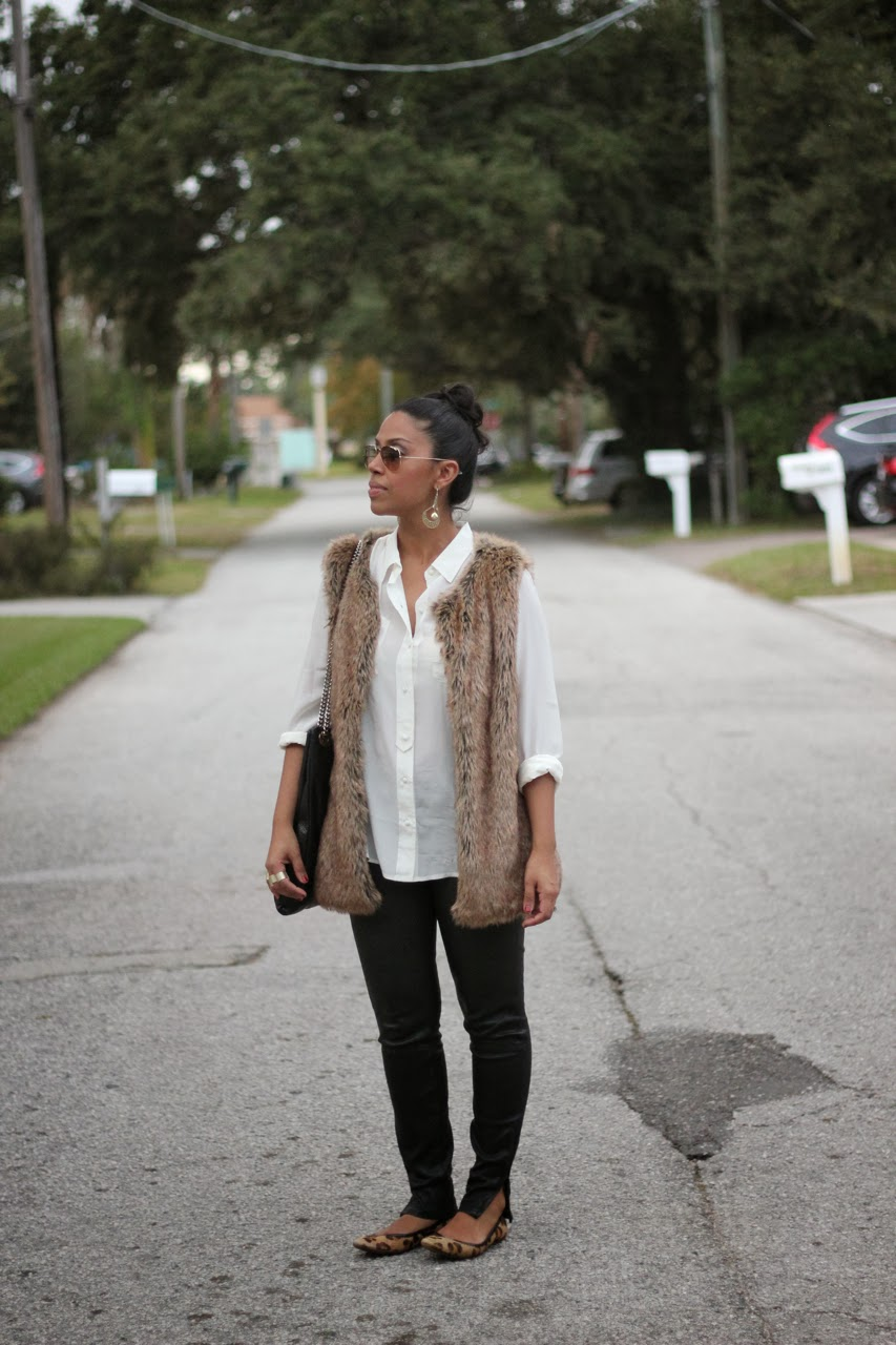 fur vest j brand forest leather pants leopard flats chanel bag ray ban sunglasses