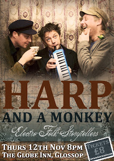 Harp and a Monkey Glossop Globe Poster by Rosie Arnfield