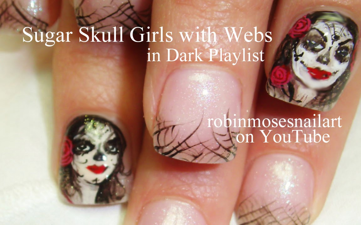 Robin moses nail art halloween nails skull nails day of the halloween nails skull nails day of the dead nails sugar skull nails halloween nail ideas nail trends halloween nail trends goth nails scary prinsesfo Gallery