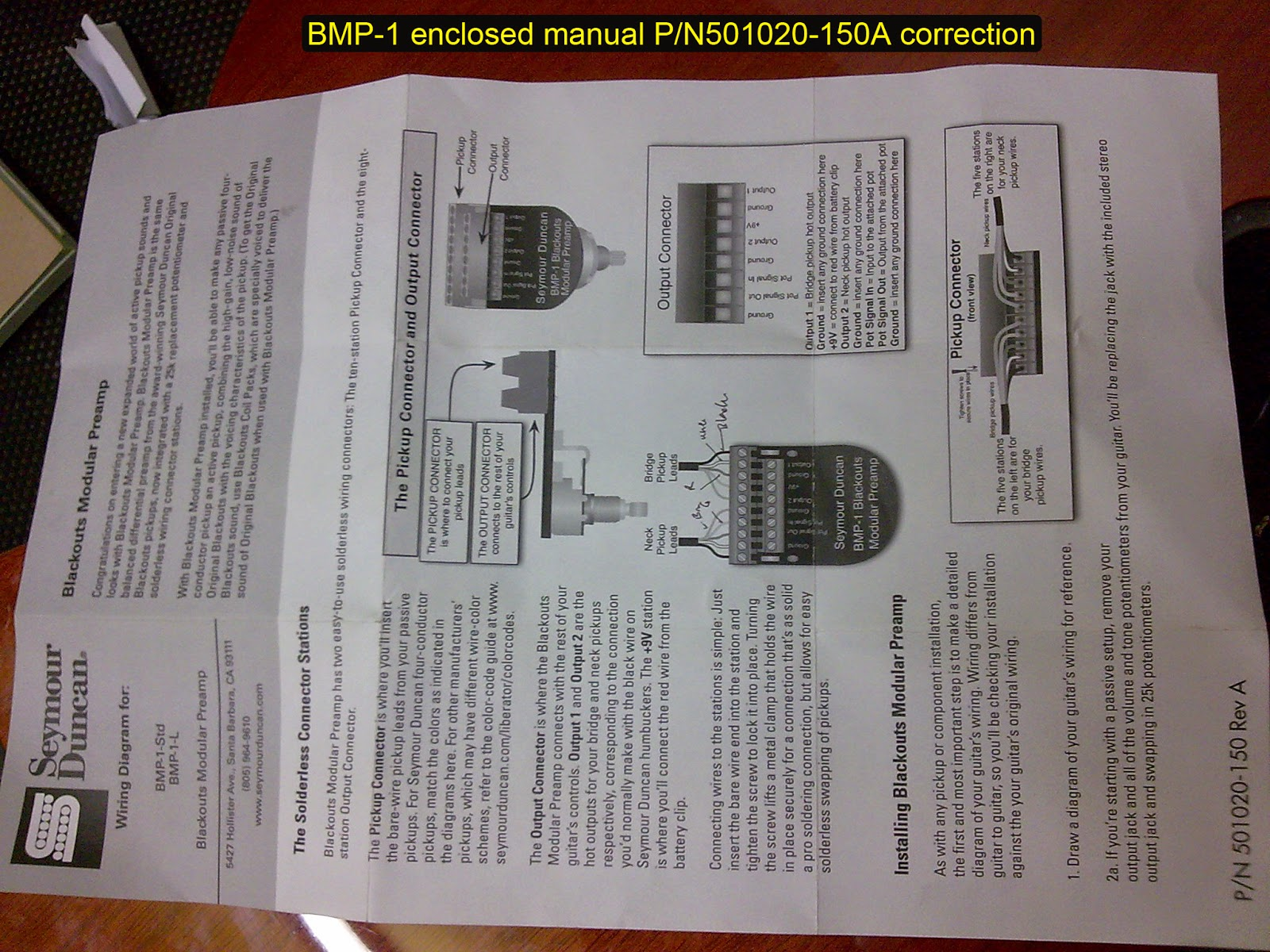 Seymour Duncan BMP-1 manual and content correction