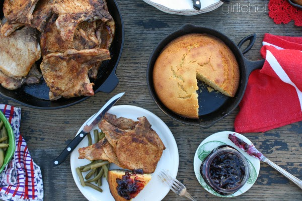 Gram's Seasoned Chops (+ Sweet Brown Butter Cornbread w/ Boysenberry Jam) #FoodMemory | www.girlichef.com