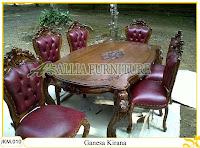Kursi dan Meja Makan Kayu Jati Ukiran Ganesa Kirana