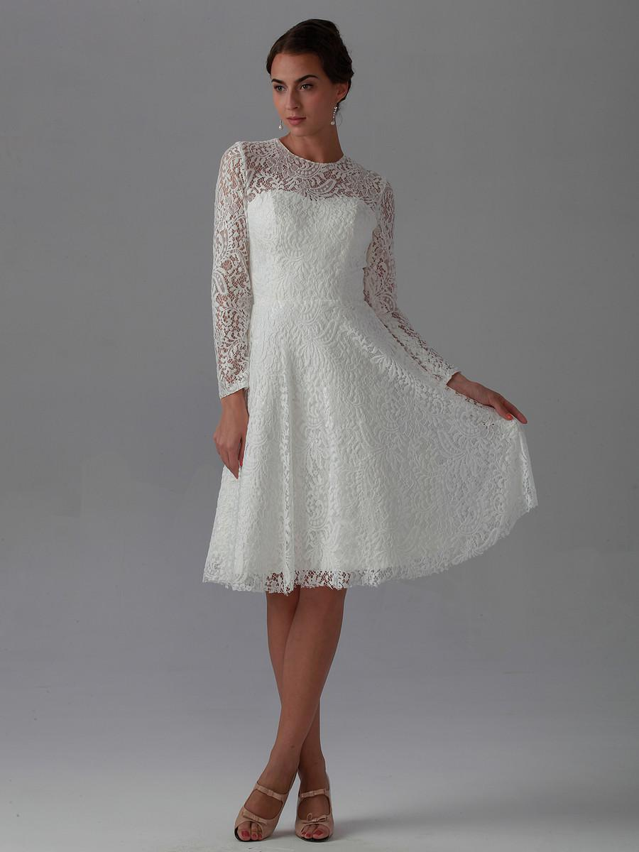 Lace Dresses with Sleeves, Simple Wedding Dresses with Sleeves, White Lace Dress with Sleeves, Tea Length Dresses, Long Bridesmaid Dresses with Sleeves, Bridesmaid Dresses with Sleeves, Cheap Short Wedding Dresses, Short Bridal Dresses