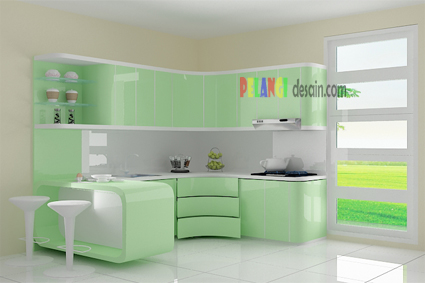 kitchenset pelangi desain interior kitchen set warna hijau