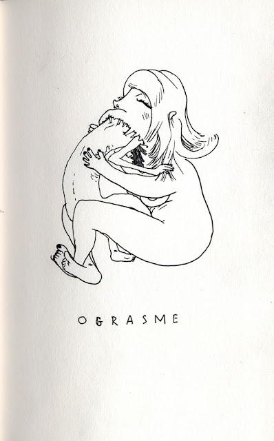 dessin de femme mangeant son homme durant l'orgasme ograsme jeu de mot illustré