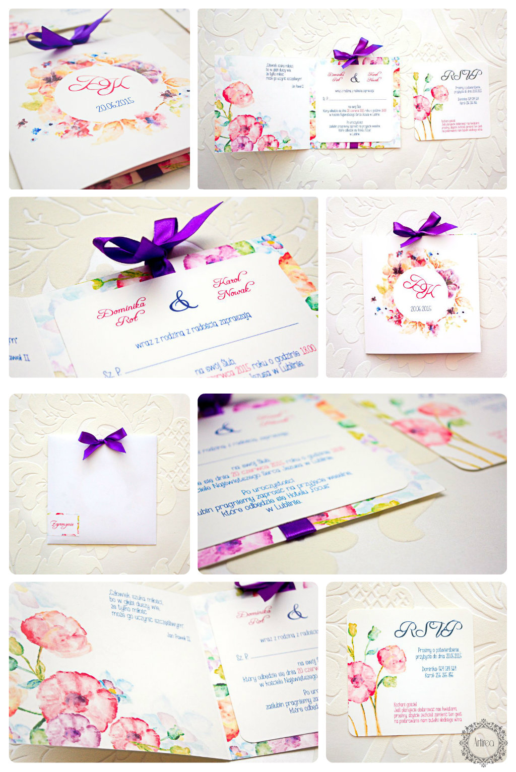 Wiosenne kolorowe zaproszenia ślubne Akwarelove by Artirea