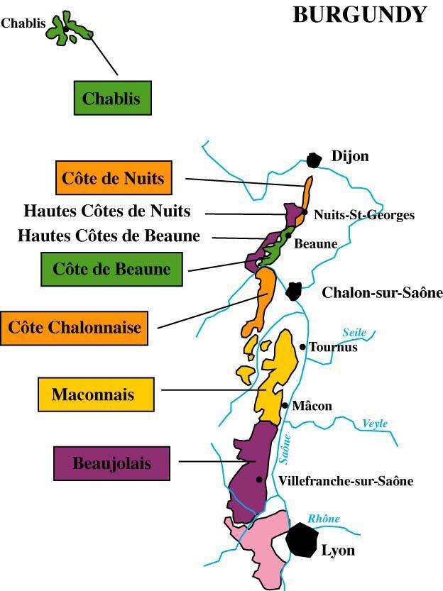 Burgundy Map - Bourgognemap