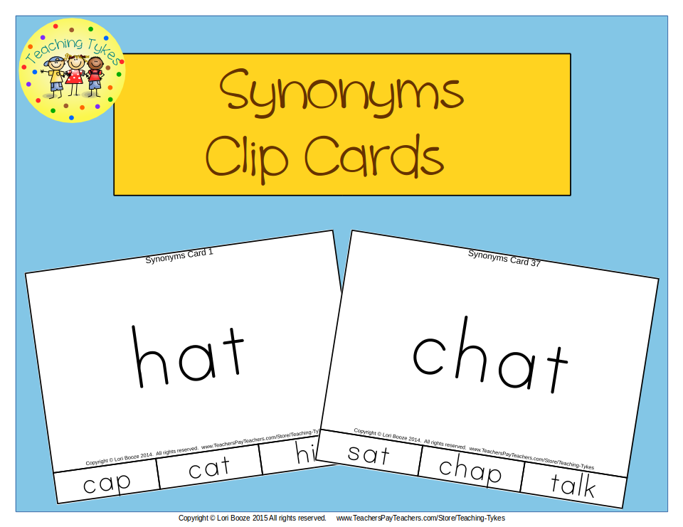 https://www.teacherspayteachers.com/Product/Synonyms-Clip-Cards-1827299