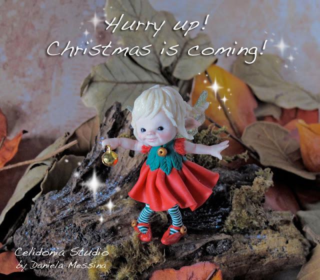 Fatina del Natale modellata in Pasta Sintetica - by Celidonia - Daniela Messina