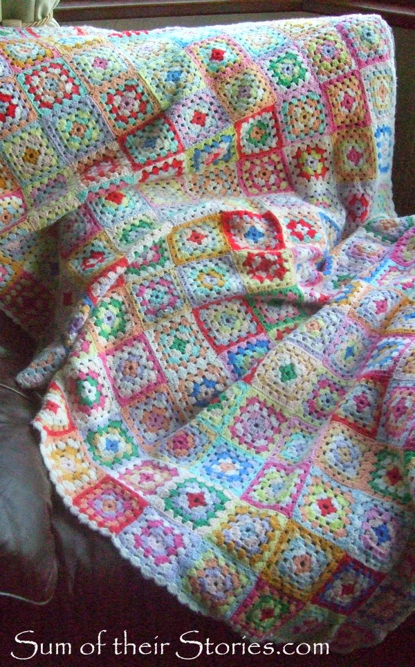 Multi colored crochet granny square blanket