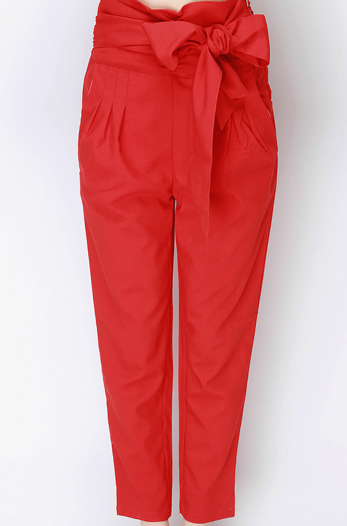 High Waist Pintucked Ankle Trousers with Belt