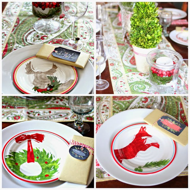 Christmas dining room with preserved boxwood topiaries and Target melamine dishes-www.goldenboysandme.com
