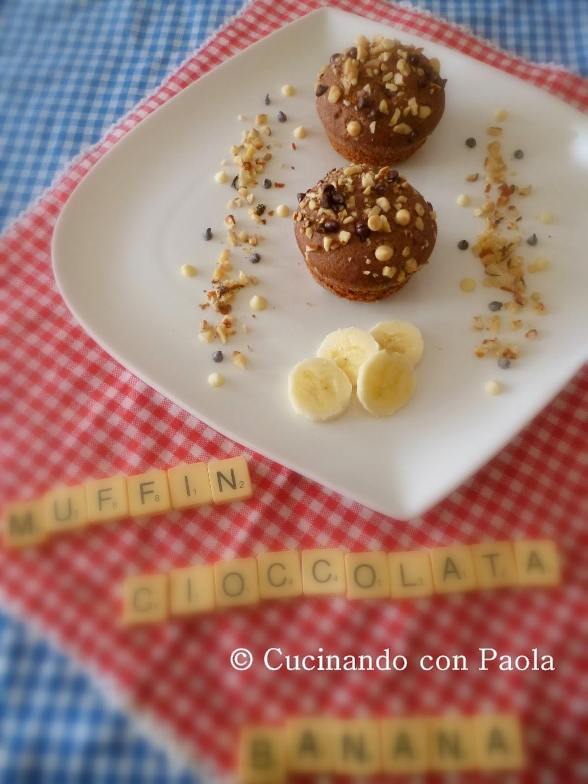muffin cioccolata-banana con nocciole