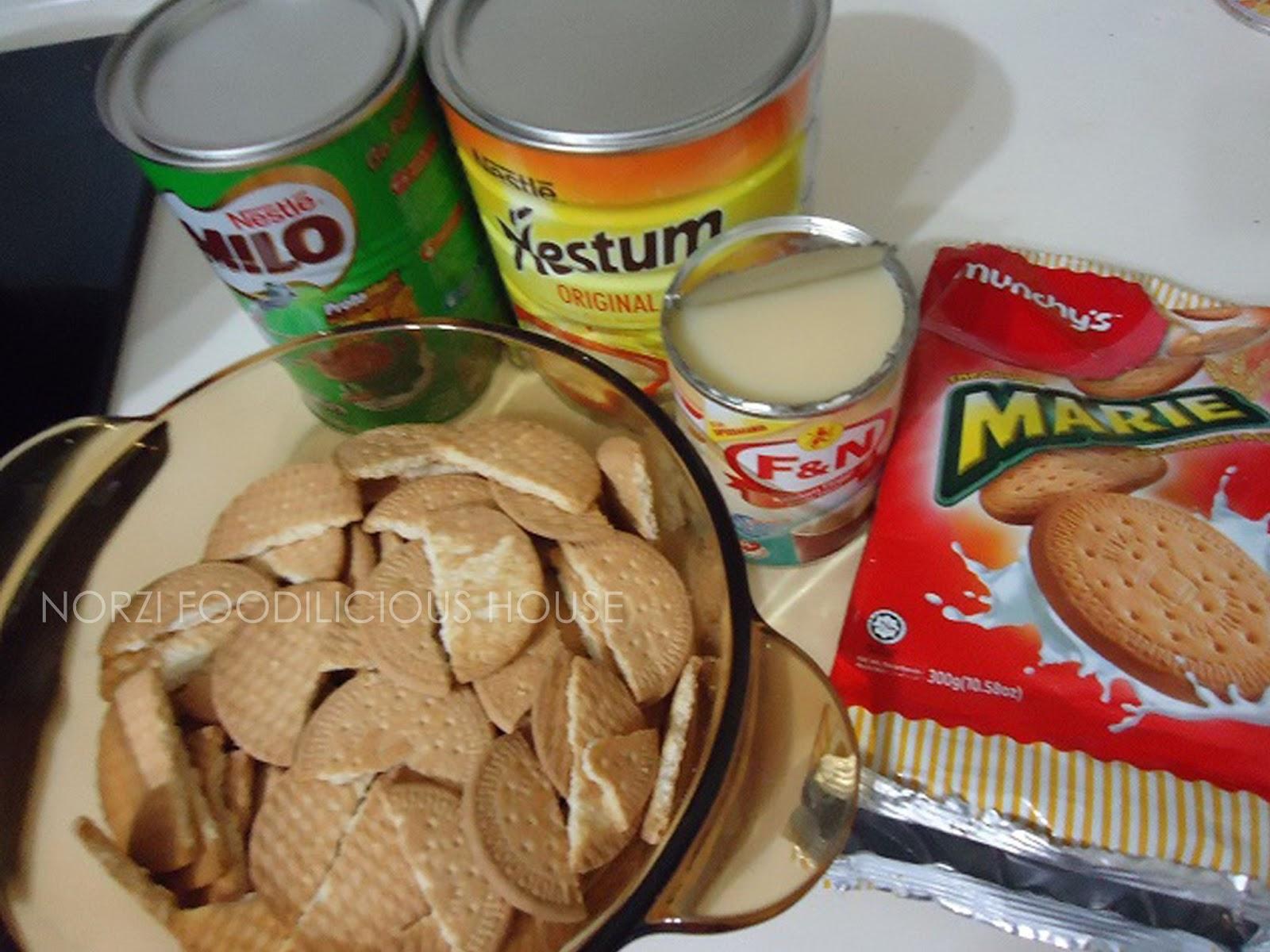 Bahan-bahan asas untuk buat kek batik nestum biskut marie.