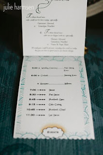 Wedding program includes the evening's timeline - Posted by A Heavenly Ceremony