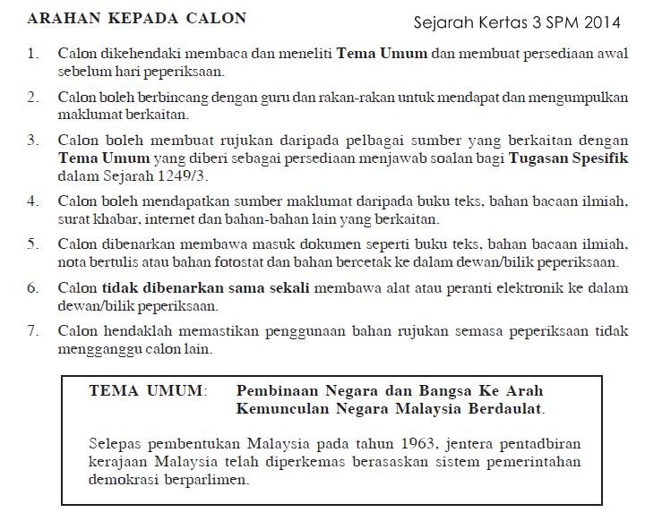 Tema Umum Sejarah Kertas 3 Spm 2014 Ciklaili