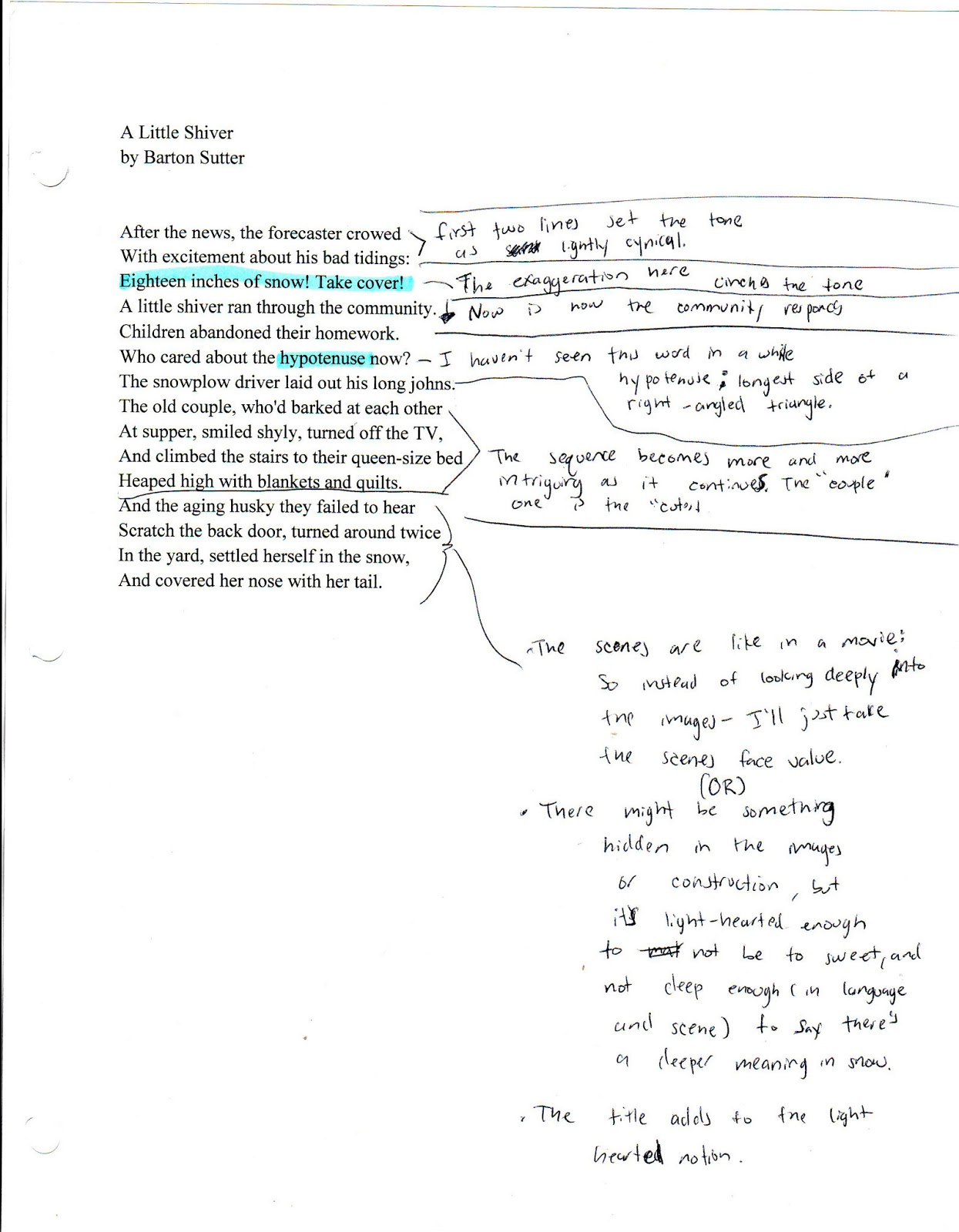 Poem analysis essay example