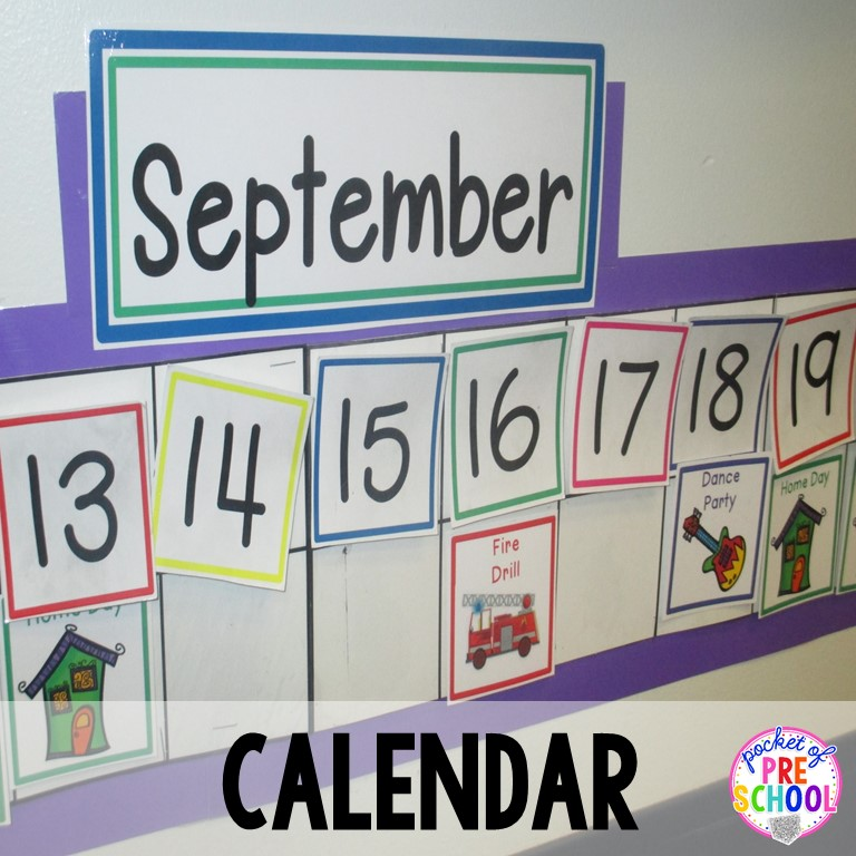 Linear Calendar Kindergarten : Classroom reveal and a freebie pocket of preschool