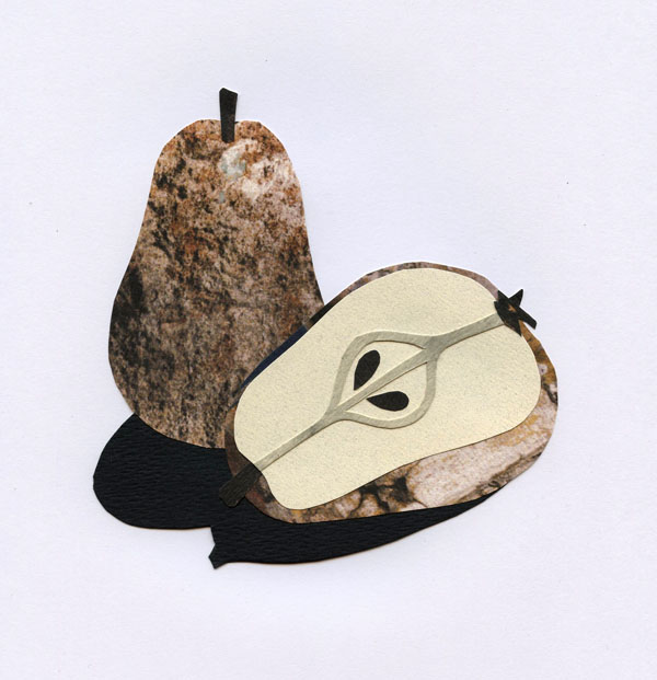 Recycled Cut Paper Pear Collage
