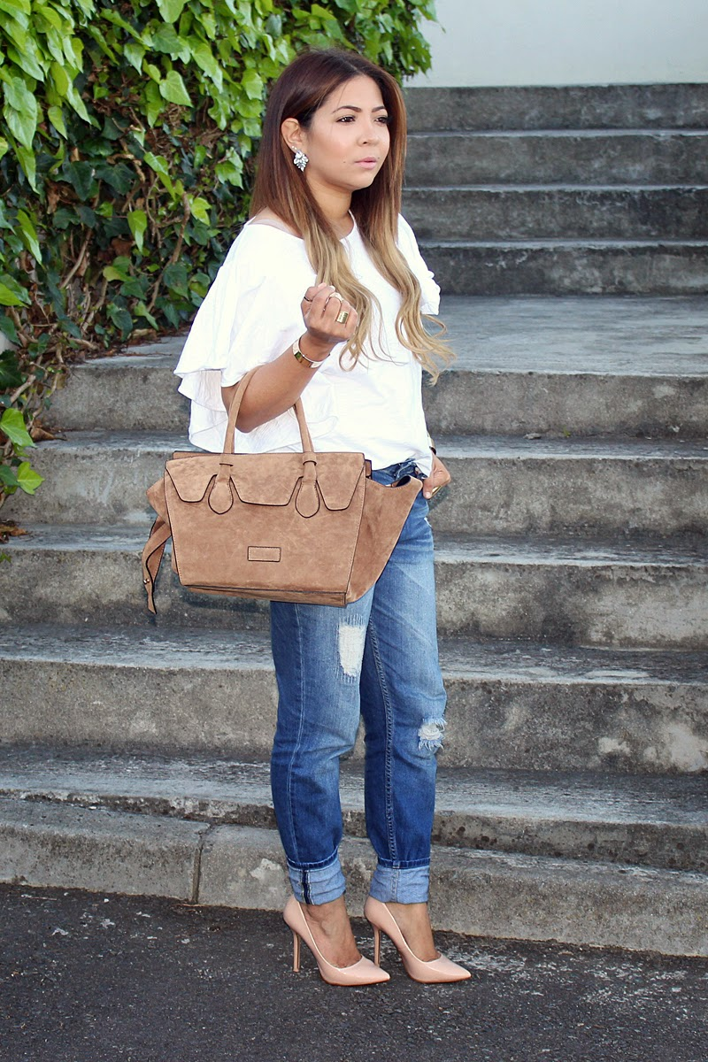 Boyfriend Jeans OOTD, fashion blogger south africa, blackcherry bags, celine inspired tote, trapeze tote, zara pointed nude heels, country road tee, fashion blogger cape town