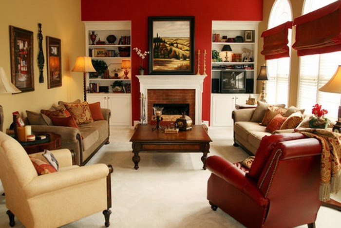 Chic living room with a red wall again, beige sofa and a beige chair ...