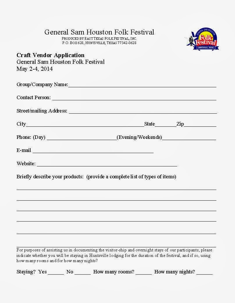 Craft Fair Vendor Form