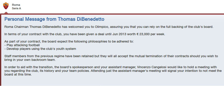 FM13 Roma Board expectations