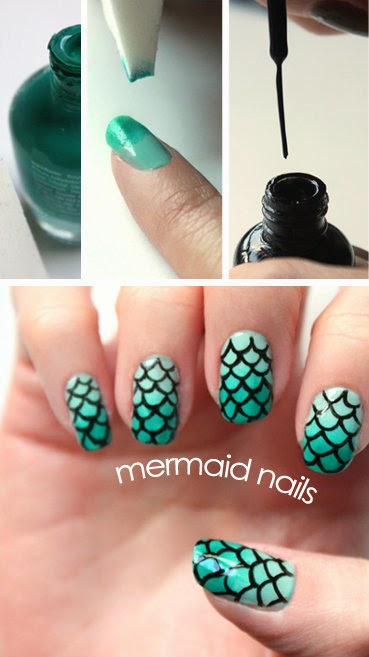 DIY Mermaid Nails Tutorials by Daily Fash For Fashion // a combo of the ombre manicure technique and some careful freehand painting.