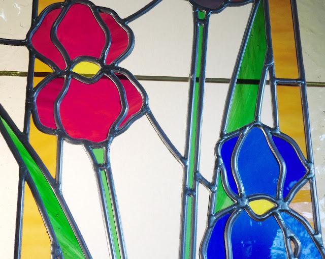 Vitrail verre et plomb, porte intérieure