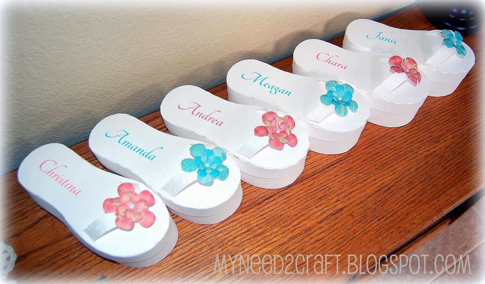 MyNeed2Craft by Terri Deavers Bridesmaid invites and flip flop boxes
