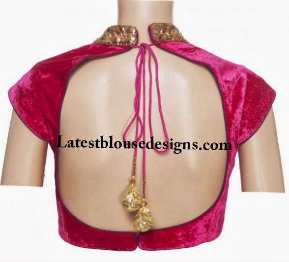 backless velvet blouse