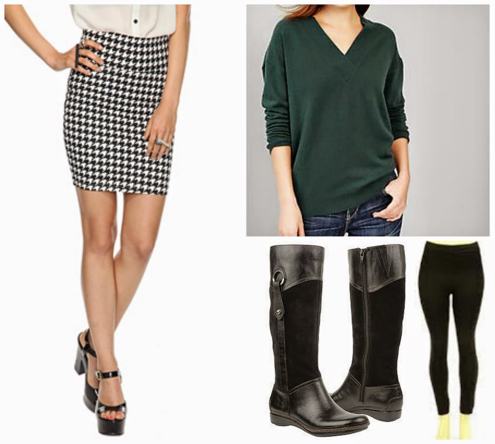 houndstooth skirt, green sweater, leggings, and boots