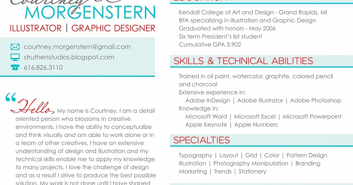 resume af 1 2 3 nu struthers studio design illustration resume