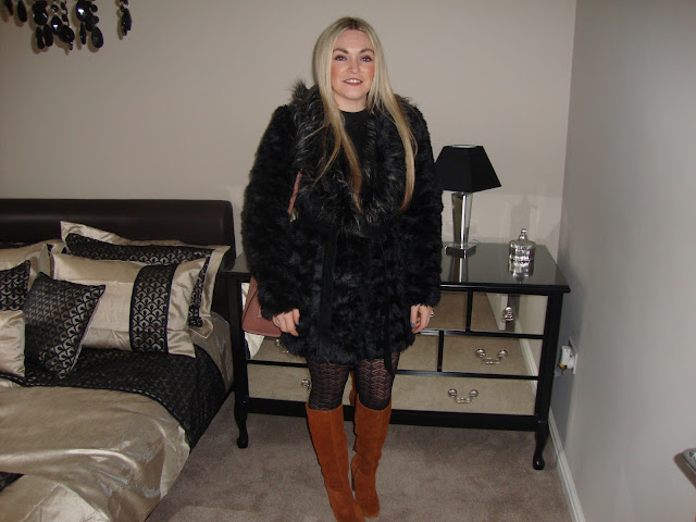 Black fur Coat House of Fraser