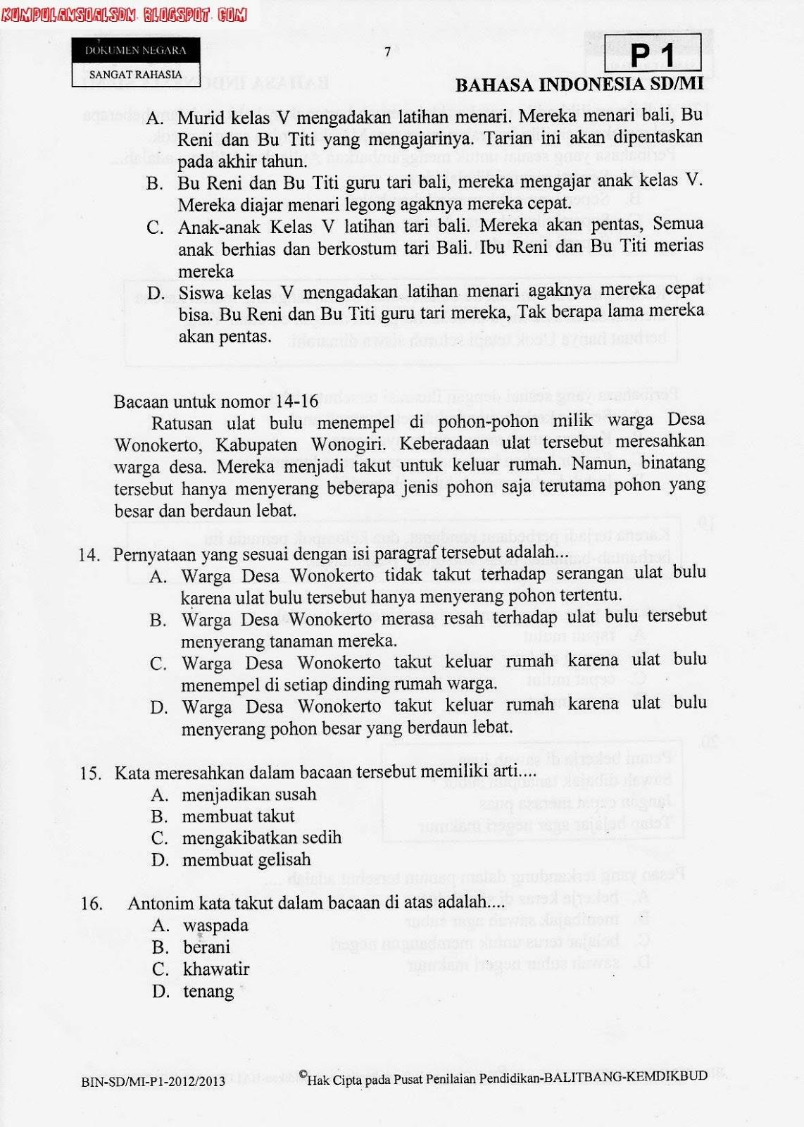 Soal Un Utama Bahasa Indonesia Ta 2012 2013 Kumpulan Soal Sd