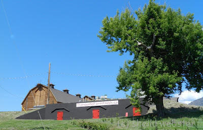 The barn is in the background and down in front is the root cellar with painted red doors and the new sign