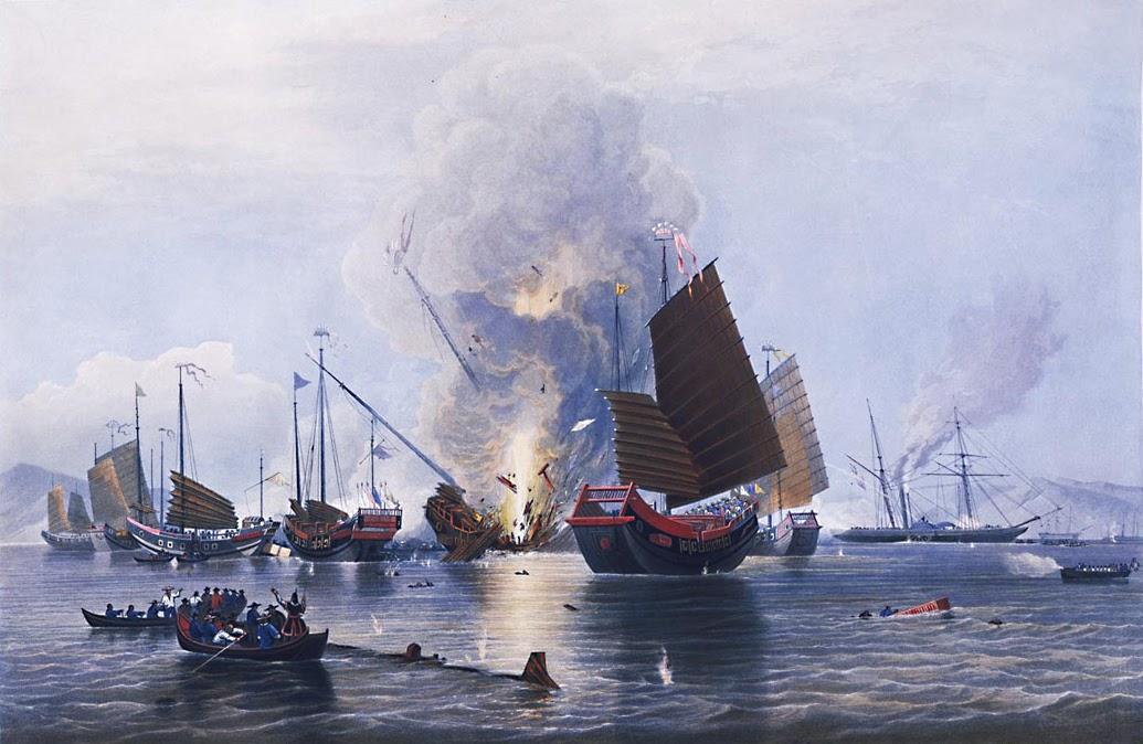 Ölgemälde vom ersten Opiumkrieg von Edward Duncan vom 13 Mai 1843