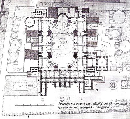 Ayasofya'nın umumi planı (Gurlitt'ten) 18 numarayla işaretlenen yer medrese kısmını gösteriyor