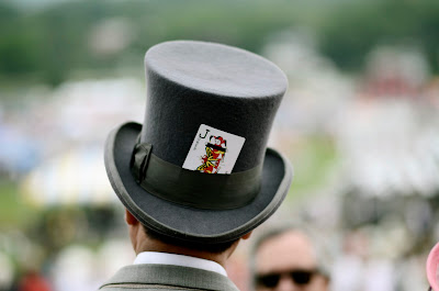 Candid style at the Iroquois Steeplechase in Nashville, TN, the joker top hat