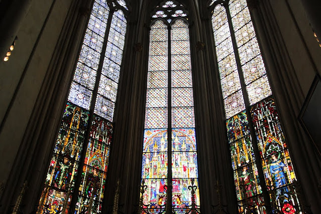 From Left to Right New Year's Eve and Gregor Box, Mary Kronung Box and Felix and Naborfenster Circa at Cologne Cathedral in Cologne, Germany