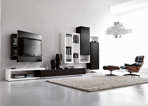 Ruang tamu dengan pencahayaan dan warna hitam-putih