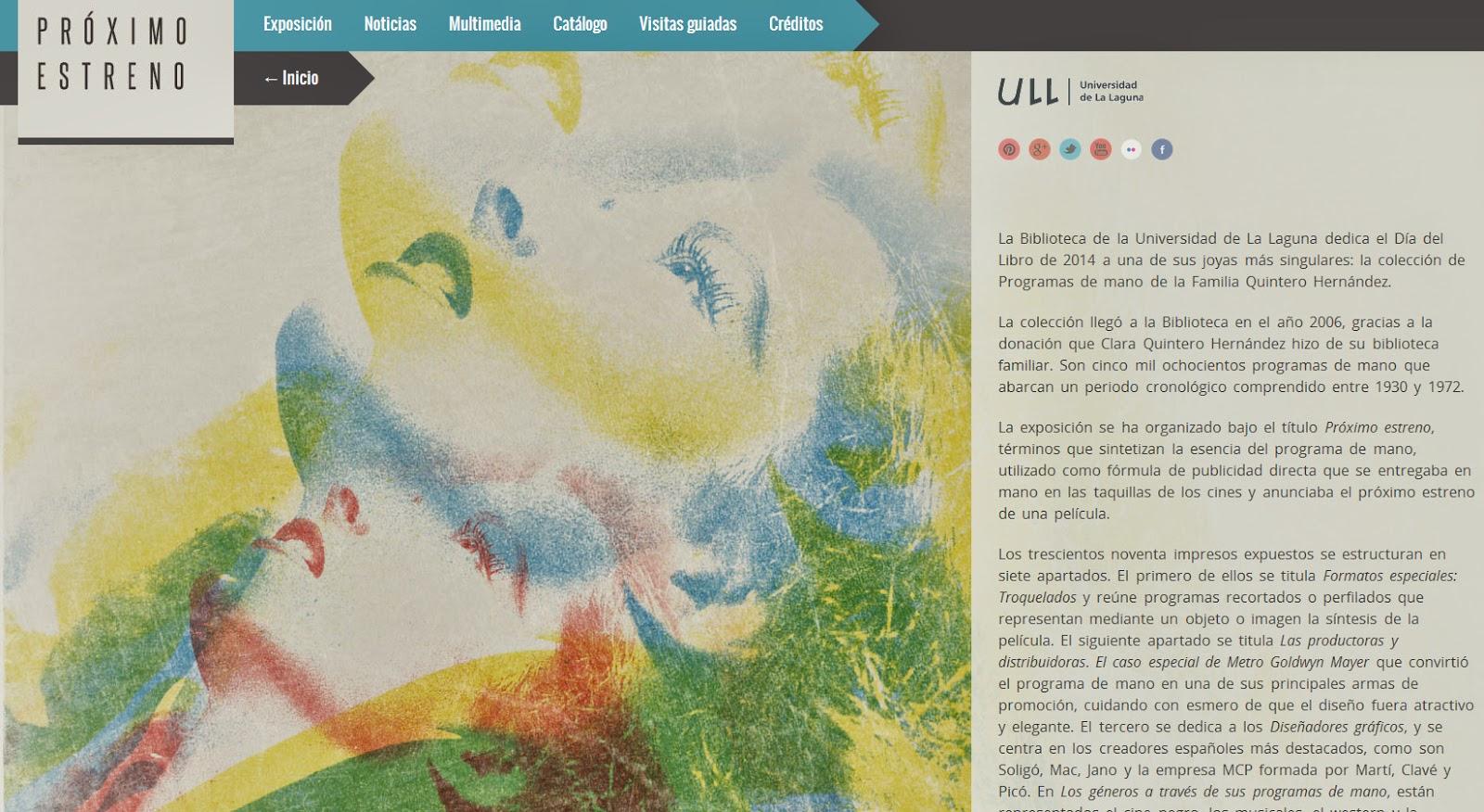 """Web de la exposición """"Próximo estreno"""""""