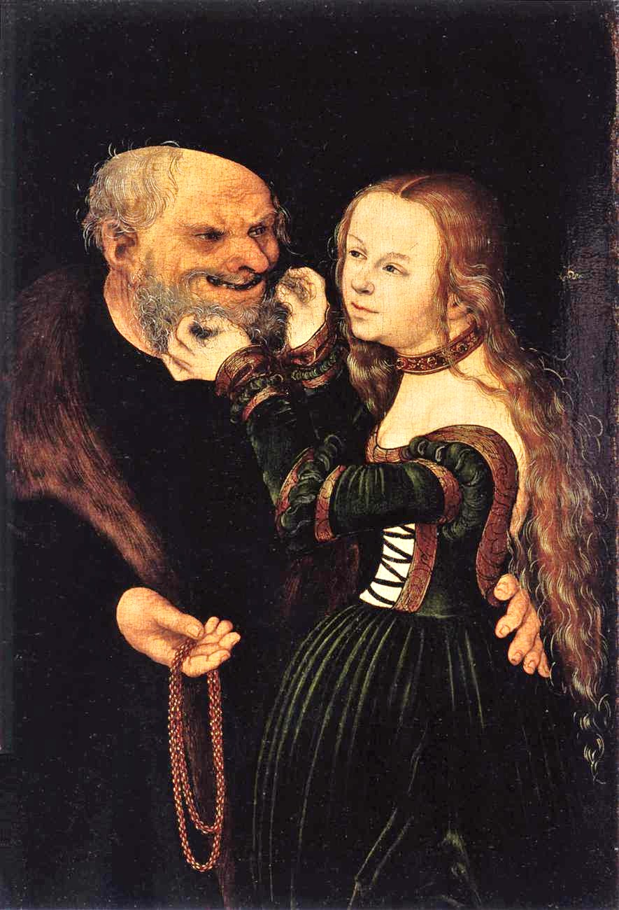 real old man with young girl
