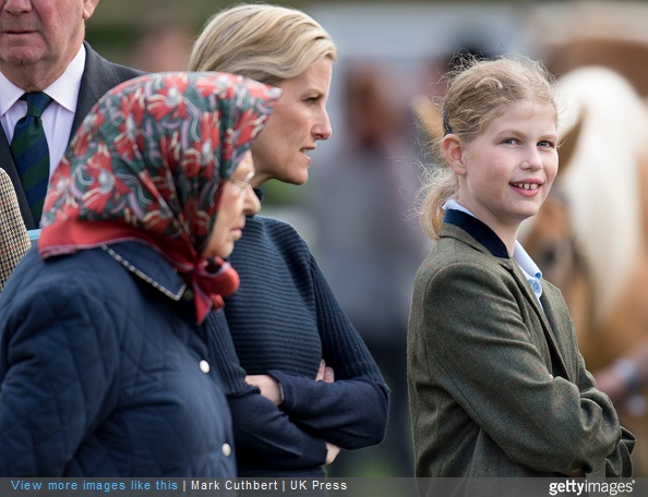 Queen Elizabeth II with Sophie, Countess of Wessex and Lady Louise Windsor attended the Royal Windsor Horse show in the private grounds of Windsor Castle on May 15, 2015 in Windsor, England.