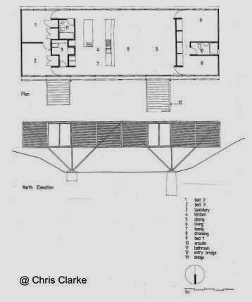 Plano arquitectónico de casa puente australiana, planta y alzada
